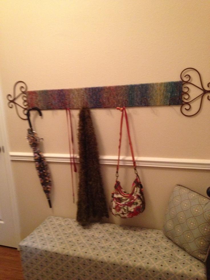 Plate rack (wrapped in yarn) repurposed for entry way hooks & 9 best repurpose plate racks images on Pinterest | Dish racks Plate ...