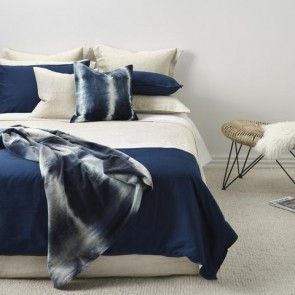 Navy and Natural Duvet Cover