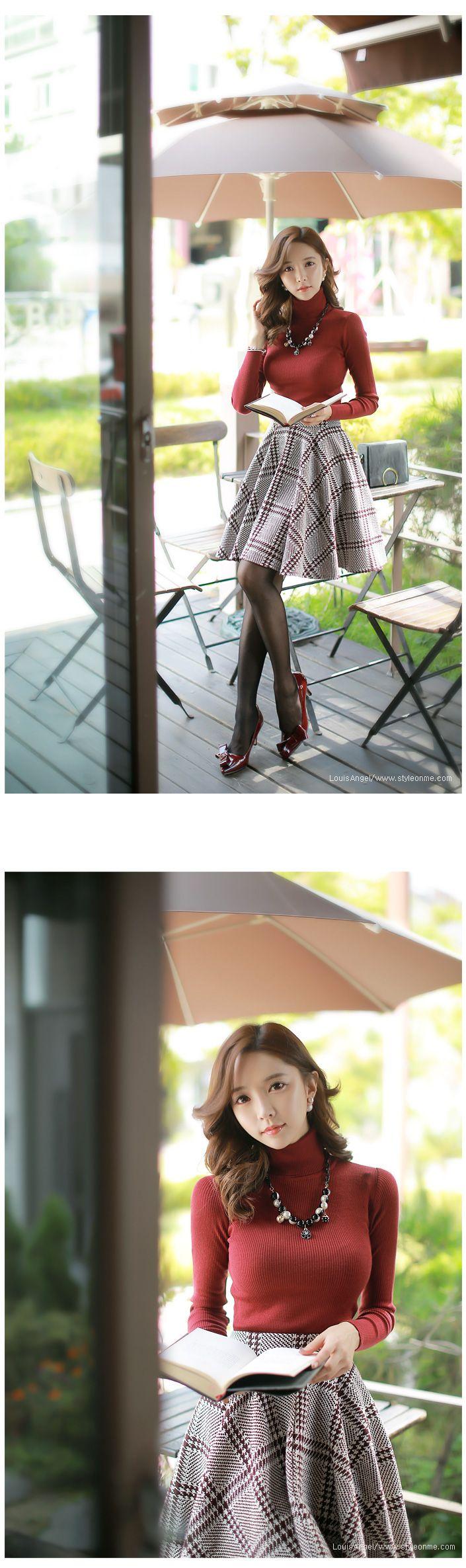 Styleonme_Feminine Checked Full Skirt #skirt #checked #fullskirt