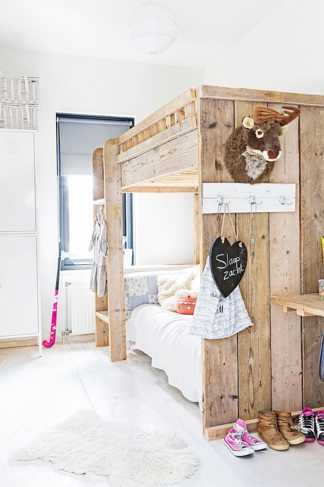 Cute rustic bunkbed in the childrens room in the fuss-free and laid back Dutch home of Marieke Rusticus.