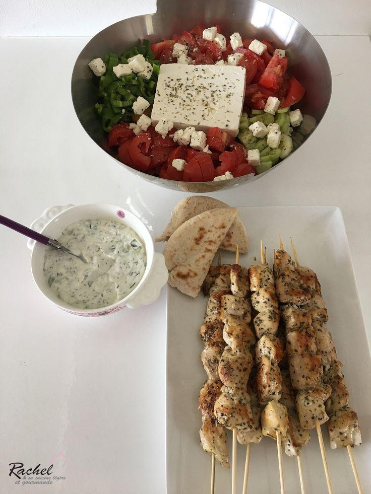 Souvlaki de poulet ou brochette de poulet. Voici un plat typiquement Grec, sain et léger. A accompagner avec du Tzatziki et une salade Grecque.