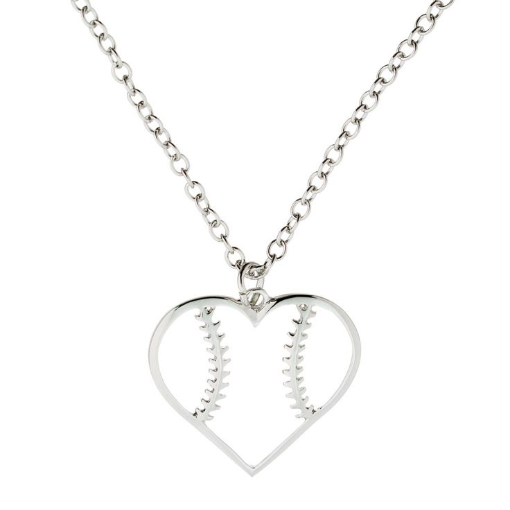 Softball Heart Necklace