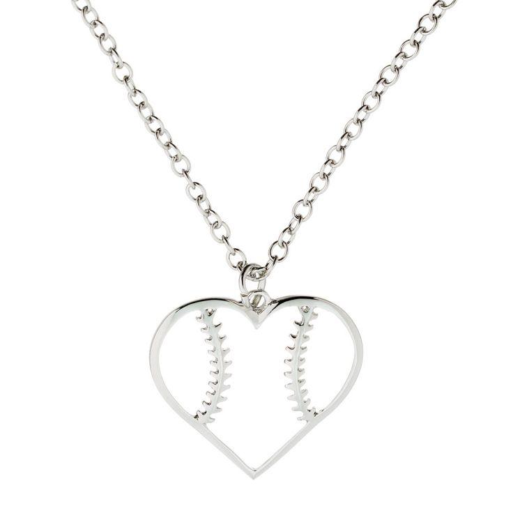 Softball Heart Necklace