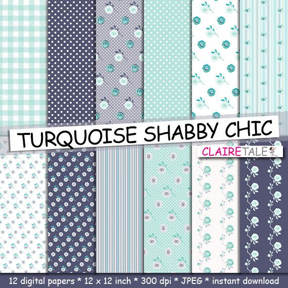 Buy Shabby Chic Digital Paper TURQUOISE SHABBY CHIC With Roses Polka Dots