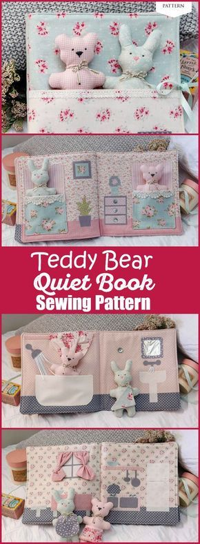 PDF sewing pattern to make a sweet DIY story book, including a teddy bear and bunny rabbit toy. Each page is part of the house, with a bathroom, bedroom and kitchen included. A sweet baby shower gift idea for baby, or a fun toy for toddlers. Perfect distraction to keep in your handbag when out with the kids. Sewing Toys | Baby Shower Gift Idea