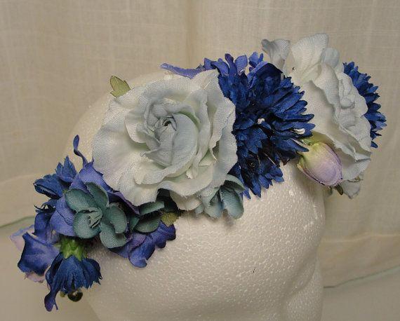 blue silk flower crown