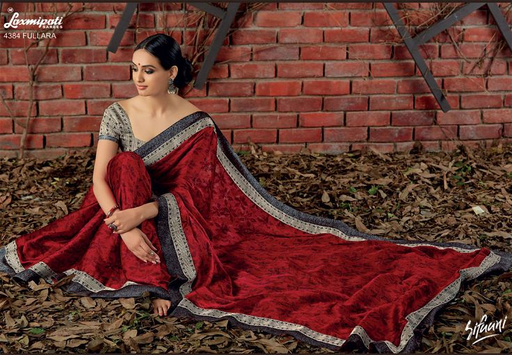 Browse this Stunning Red Satin Silk Saree and Satin Silk Black & White Blouse along with Satin Silk Printed Lace Border from Laxmipati Saree.  #Catalogue #SIFAANI #Design Number: 4384 Price - Rs. 2208.00