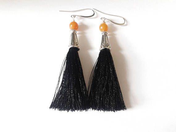 tassel earrings black tassel earrings handmade earrings