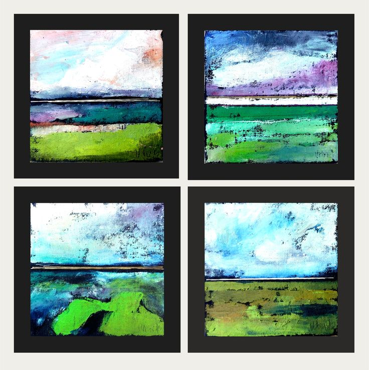 small oil painting series 16x16 cm! Abstract landscape + artistic textile by KarolinaBUrbanska on Etsy