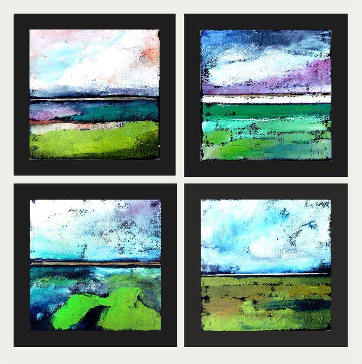 small oil painting series 16x16 cm! Abstract landscape + artistic textile by KarolinaBUrbanska on Etsy