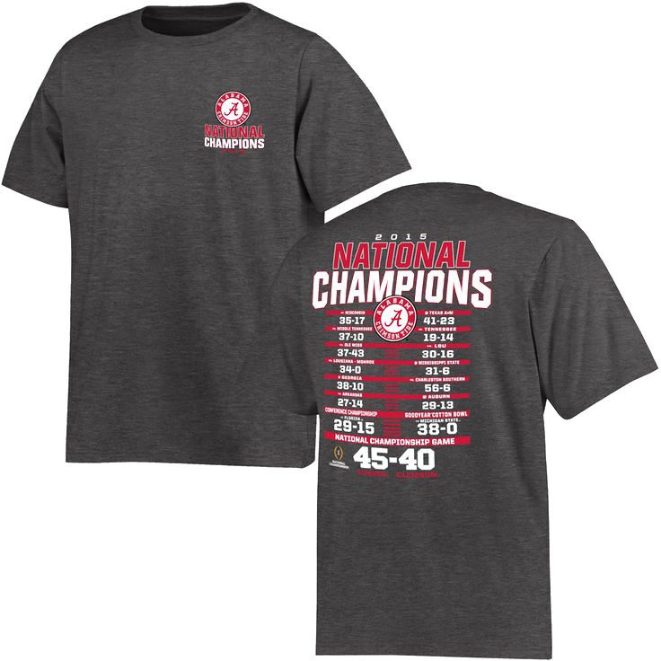 Alabama Crimson Tide Youth College Football Playoff 2015 National Champions Schedule T-Shirt - Charcoal - $19.99