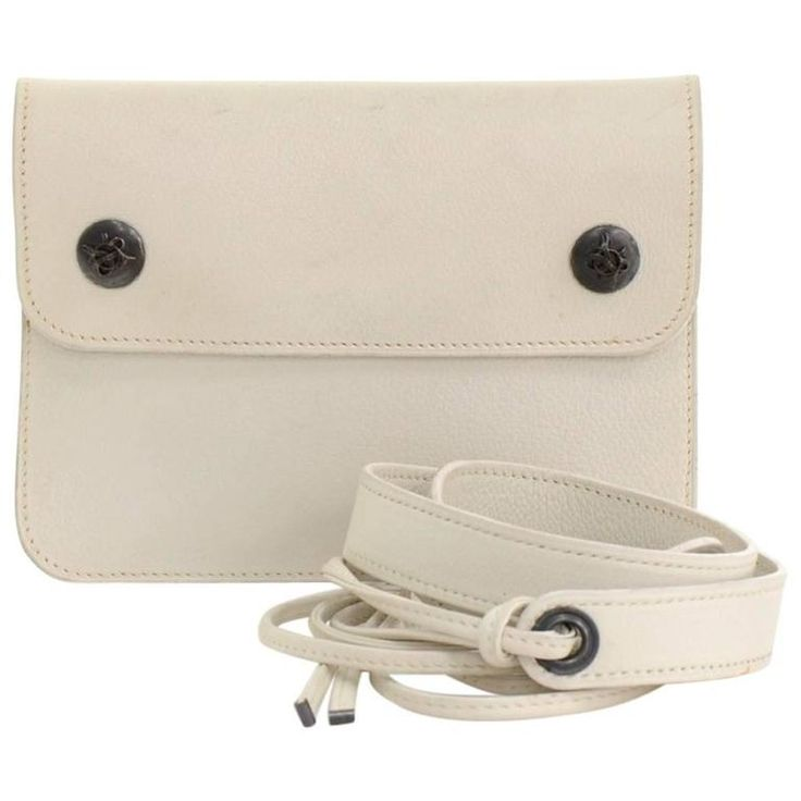 Vintage Hermes White Leather Waist Pouch Bag | From a collection of rare vintage crossbody bags and messenger bags at https://www.1stdibs.com/fashion/handbags-purses-bags/crossbody-bags-messenger-bags/