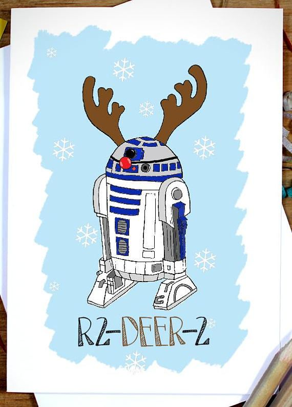 Star Wars R2D2 Christmas card, Funny Christmas Cards, Disney