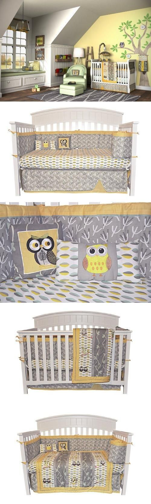 Leigh gender neutral 10pc owl baby crib bedding set grey yellow green - 10pc Owl Gender Neutral Crib Bedding Set Grey Yellow New Born Baby Child