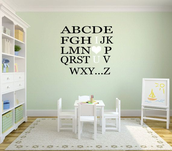 Alphabet Wall Decal for Nursery  Kids Wall by JustSayinVinyls