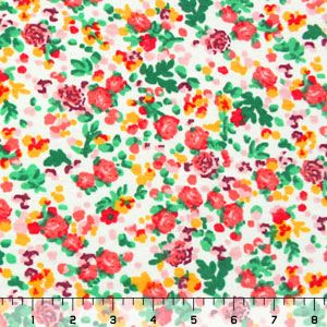 Coral Pink Rosy Floral Cotton Jersey Blend Knit Fabric