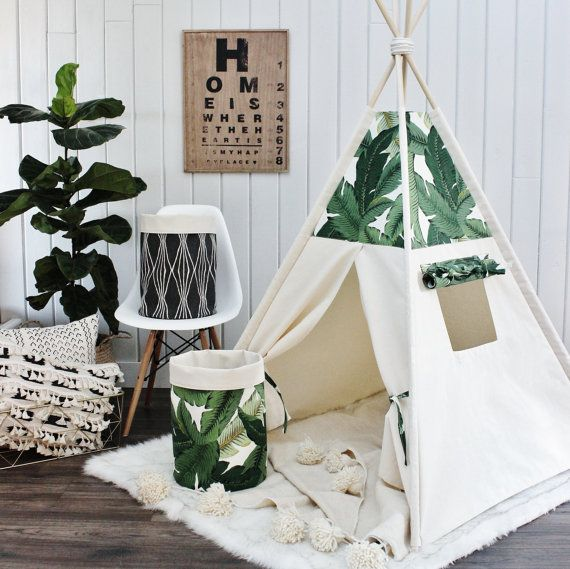 TOMMY PALMS and Natural Canvas Teepee Play Tent by AshleyGabby