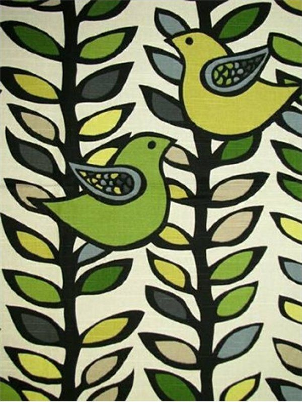 Image detail for -17.99 per yard! Scandinavian Retro Modern Folk Art Bird Leaves Black ...