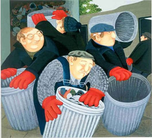 Dustbin men, by Beryl Cook