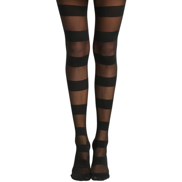 Hot Topic Blackheart Wide Black Stripe Tights ($9.67) ❤ liked on Polyvore featuring intimates, hosiery, tights, striped tights, opaque pantyhose, striped stockings, opaque tights and sheer stockings