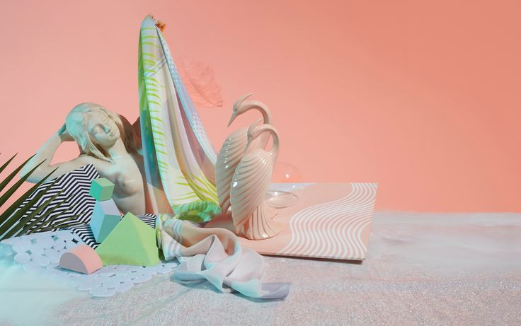 Surreal pastel mermaid scene for Project Fond scarf shoot.