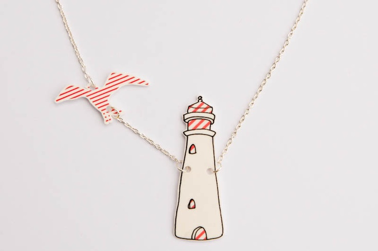 Light House Necklace, illustration with seagull. 14.95, via Etsy.
