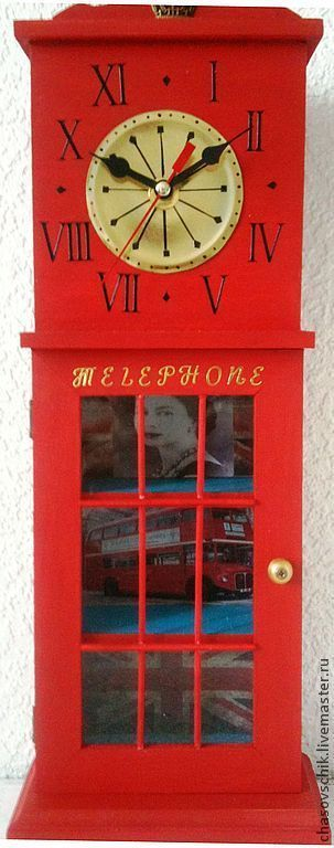 """Купить Часы """"Воспоминания о Лондоне"""" - ярко-красный, часы настенные, часы настольные, часы подарочные"""