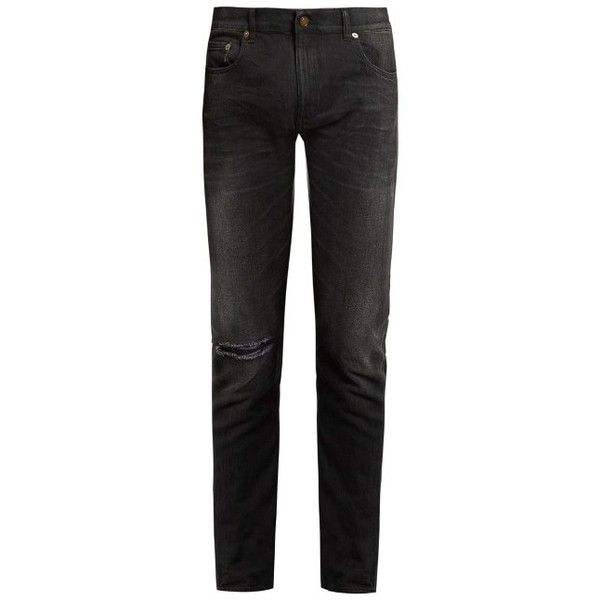 Saint Laurent Distressed skinny jeans ($485) ❤ liked on Polyvore featuring men's fashion, men's clothing, men's jeans, black, mens faded jeans, mens distressed jeans, mens distressed skinny jeans, mens ripped jeans and mens torn jeans