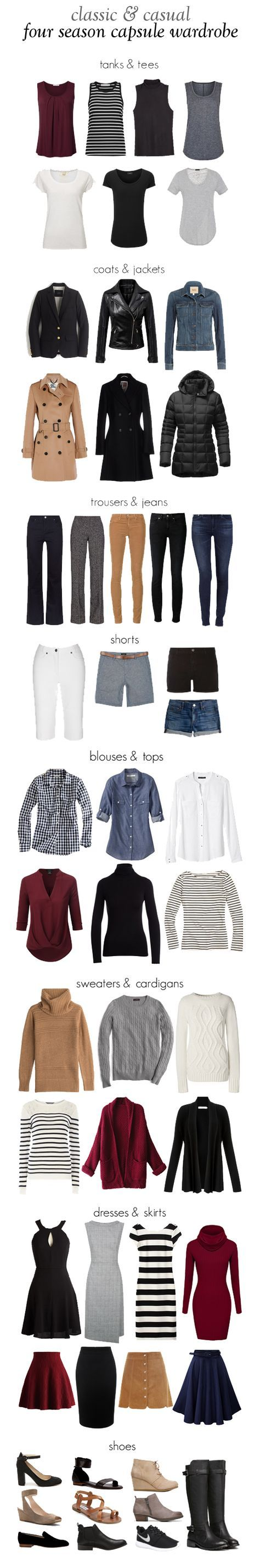Classic, casual, year-round capsule wardrobe. Perfect for school outfits, semi-casual office attire, and day to day life.