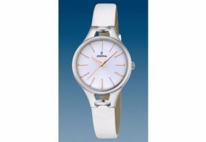 Montre Femme Festina F16954/1 Bracelet Cuir Blanc Boitier en Acier Argenté Cadran Blanc et Or Rose