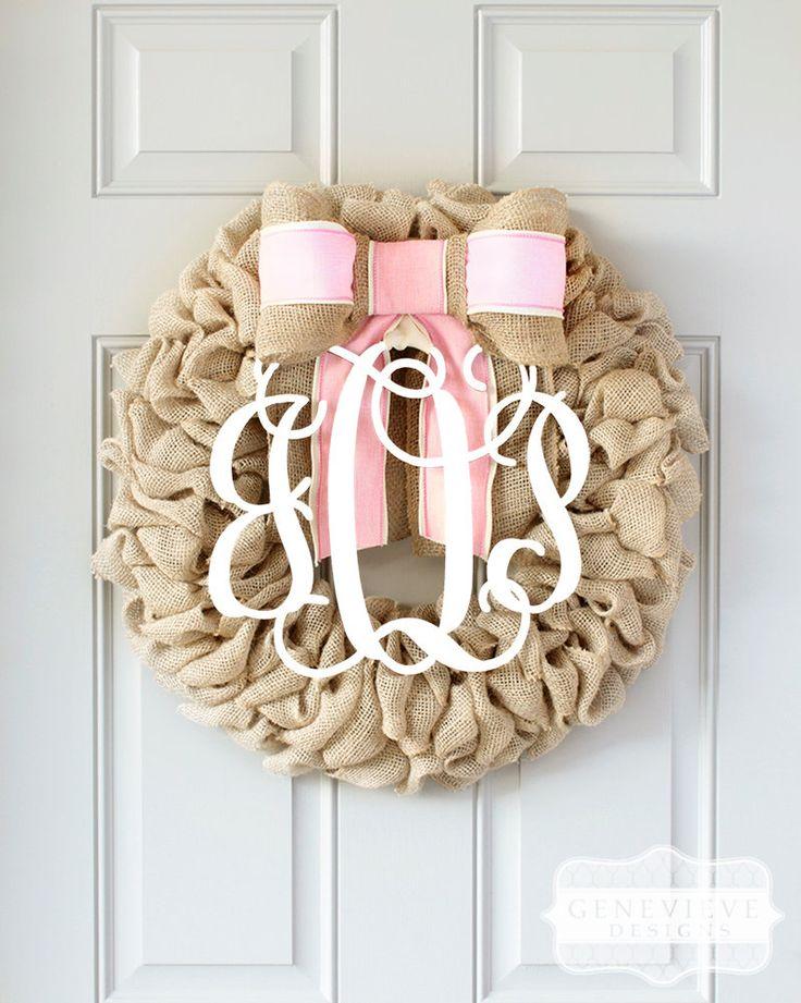 Baby Shower Gift, Burlap Wreath, Custom Baby Monogram, Hospital Door Decor, Newborn Announcement Wreath, Baby Shower Decorations Girl, Hospital Door Hanger Girl, Baby Girl Gift, Newborn Girl Photo Prop, Baby Girl Nursery, Interchangeable Bow™
