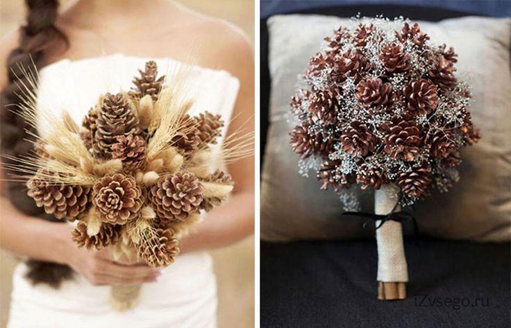 Свадебные букеты из шишек фото идеи