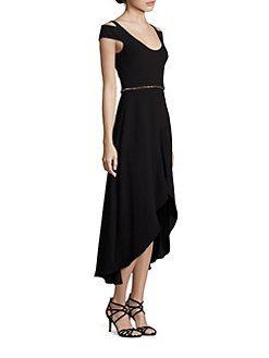 ML Monique Lhuillier - Cold-Shoulder High-Low Dress