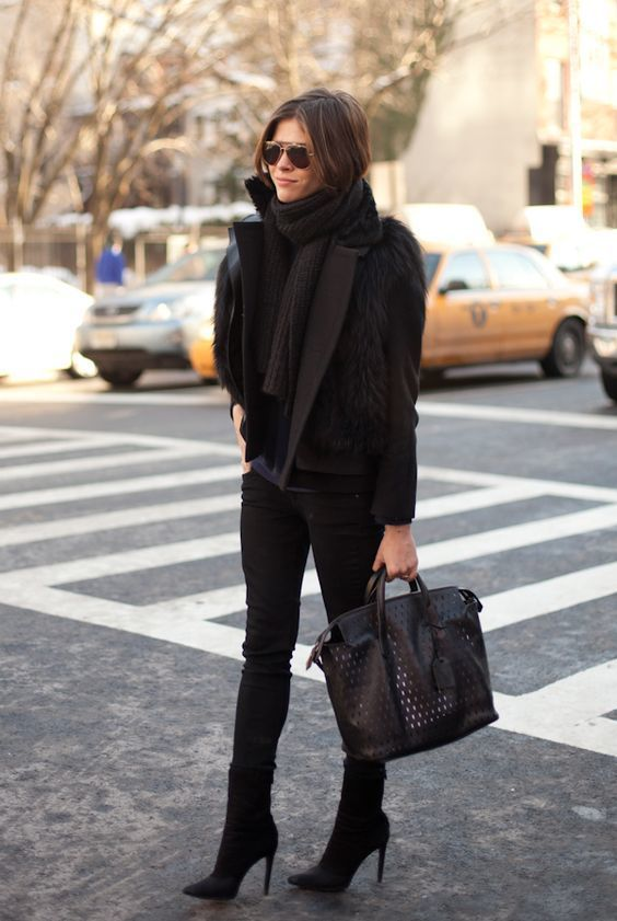 Team a black pea coat with black skinny jeans for a Sunday lunch with friends. Polish off the ensemble with black suede booties.   Shop this look on Lookastic: https://lookastic.com/women/looks/pea-coat-vest-long-sleeve-t-shirt/16111   — Black Knit Scarf  — Black Fur Vest  — Black Pea Coat  — Navy Long Sleeve T-shirt  — Black Skinny Jeans  — Black Cutout Leather Tote Bag  — Black Suede Ankle Boots