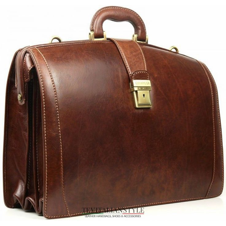 Chiarugi brown leather briefcase with laptop comparment Made in Italy