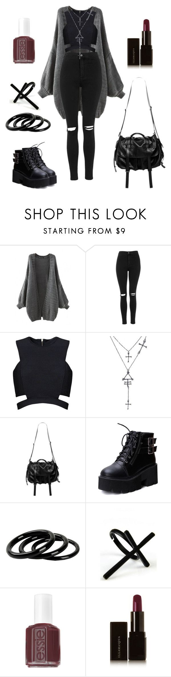 """""""Styling jeans"""" by shortcuttothestars ❤ liked on Polyvore featuring Topshop, Posh Girl, Natalia Brilli, Furla, Emi Jewellery, Essie and Illamasqua"""