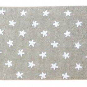 Grey white stars rug by Lorena Canals | Nubie - Modern Baby Boutique