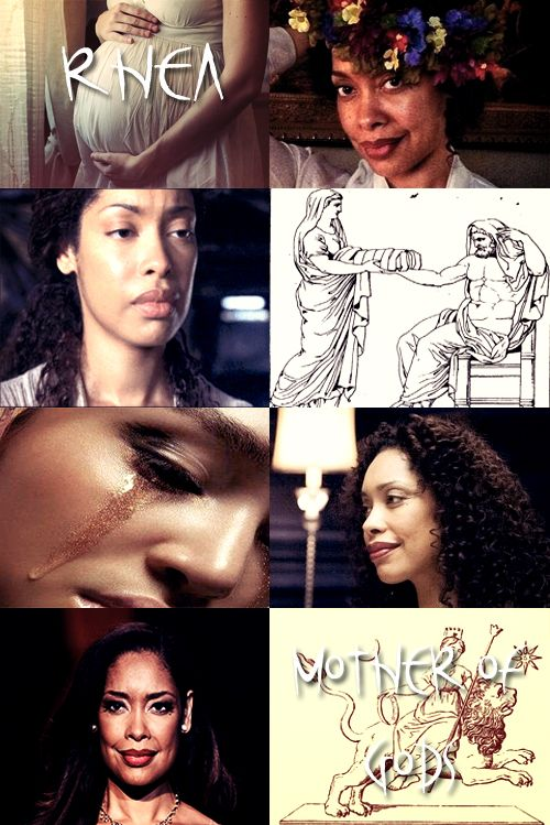 """Gina Torres as Rhea, the Titaness daughter of the earth goddess Gaia and the sky god Uranus. In early traditions, she is known as """"the mother of gods"""" and therefore is strongly associated with Gaia and Cybele, who have similar functions. The classical Greeks saw her as the mother of the Olympian goddesses and gods, but not as an Olympian goddess in her own right."""