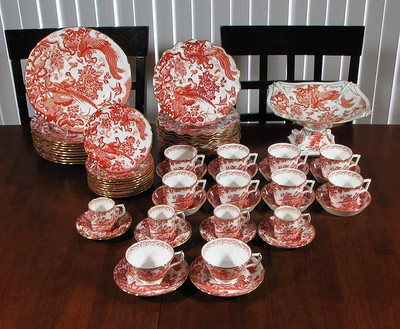 """61pcs. of ROYAL CROWN DERBY """"RED AVES"""" PORCELAIN DINNERWARE"""