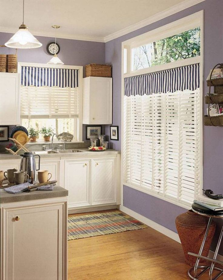 Kitchen, : Exciting Plum Kitchen Decoration With Light Purple Kitchen Wall  Paint Including Blue Stripe Curtain Kitchen Window Treatment And White Wood  ...
