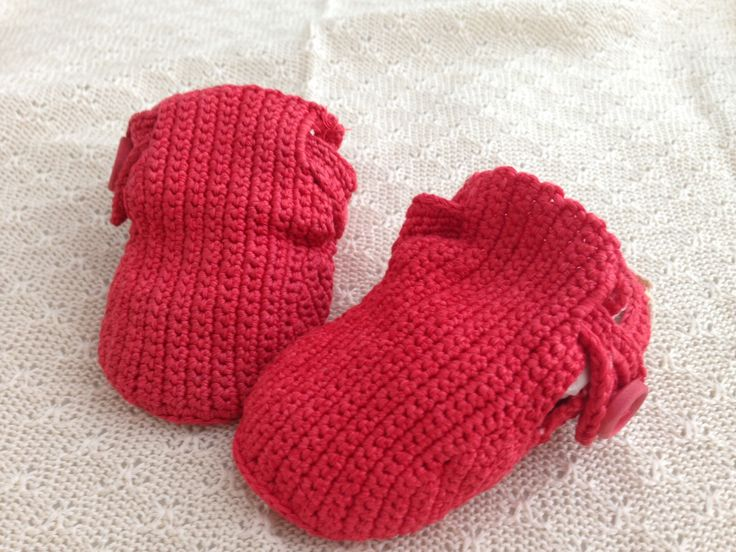 Red cotton silk baby shoes. Hand crocheted and hand dyed