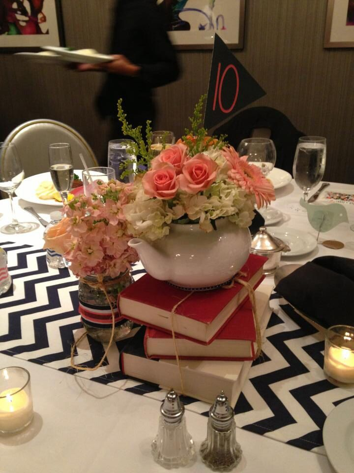 Teapot books mason jar centerpiece diy wedding for Wedding reception centrepieces