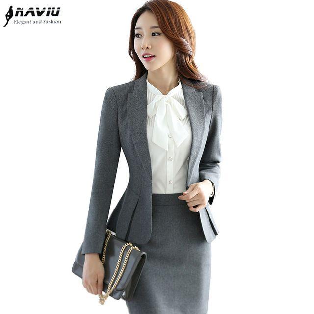 2016 nuevas mujeres de la moda trajes de señoras de la oficina OL delgado del desgaste del trabajo juegos de falda de manga larga blazer trajes para mujeres con una falda