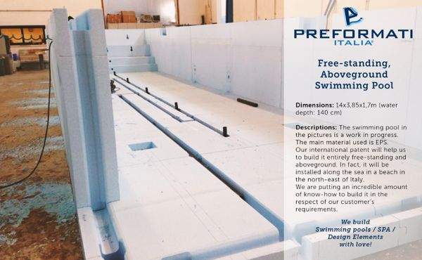 Freestanding, Aboveground Swimming Pool by Preformati Italia