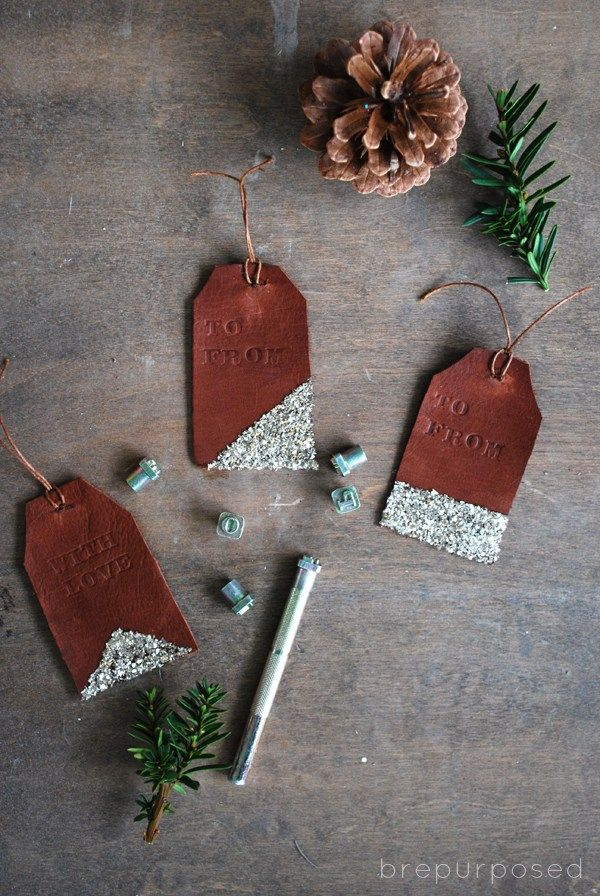 Leather and glitter gift tags.