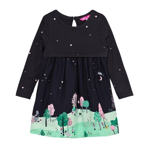 Tom Joule Merrie Countryside Scene Dress (470 NOK) ❤ liked on Polyvore featuring dresses, blue color dress, star print dress, tom joule, star pattern dress and star dress