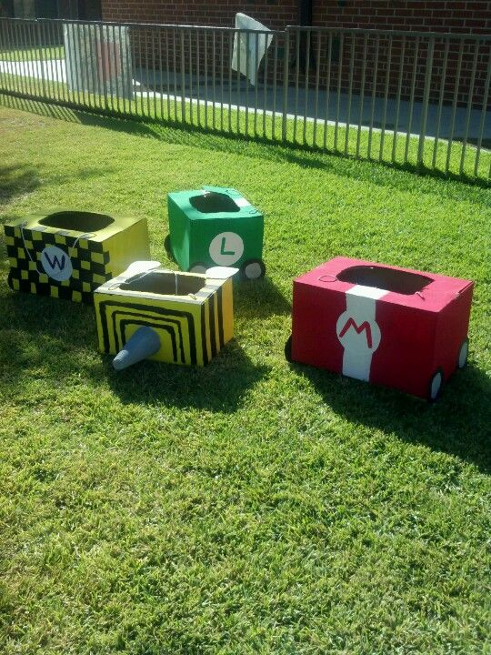 Mario Karts out of cardboard boxes, so much fun!