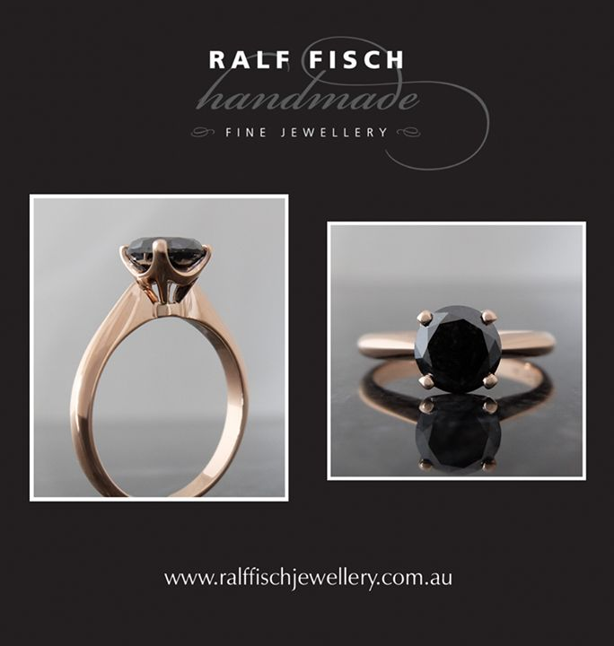 18ct rose gold four claw solitaire style engagement ring with 1.33ct black round brilliant cut diamond. This striking piece is now sitting boldly in our window, not to be missed!