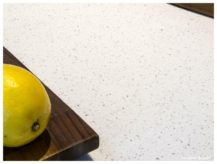 Bianco Luciente Quartz Worktop with Walnut Solid Worktop