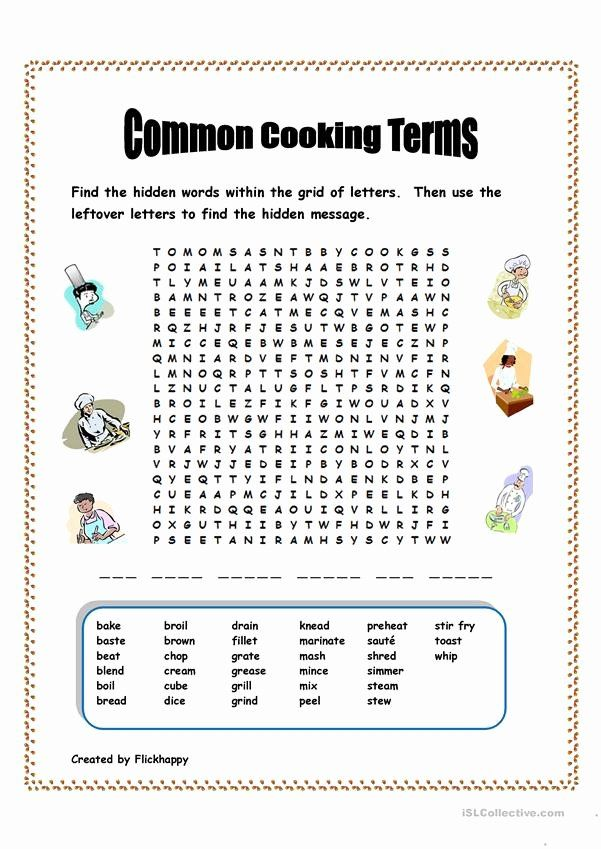 Basic Cooking Terms Worksheet Answers Unique Mon Cooking Terms Worksheet Free Esl Printable In 2020 School Worksheets Worksheets For Kids Hidden Words